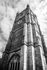 Going up ! (aquanout) Tags: blackandwhite monochrome church sky clouds clock cornwall