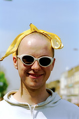 Banana head (hoffman) Tags: banana cannabis demonstration food fruit glasses march portrait protest sunglasses vertical youth 181112patchingsetforimagerights london uk