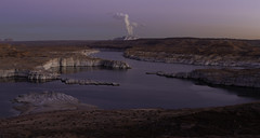 (maknsandwiches) Tags: page az arizona lake powell plant smoke sunset landscape reflection calm desert december canon
