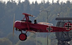 Fokker Dr.I Replica departing from  LKNA (stecker.rene) Tags: fokker dri fokkerdri 42517 okuaa okuaa90 replica radar opendays 2016 aerialdisplay flyingdisplay airshow wwi warbird war scarf departure takeoff to propeller prop military worldwarone dogfight flying flight vfr lkna námest nad oslavou námestnadoslavou canon eos7d markii tamron 150600mm triplane