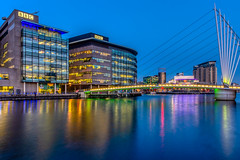 The Blue hour (Kev Walker ¦ 9 Million Views..Thank You) Tags: architecture city england manchester mediacity river salfordquays ship sky water blue bridge britain british broadcasting buildings canal cityscape commercial contemporary design dock dusk europe exterior footbridge great high kingdom landmark lowry media metropolitan modern night north quay quays quayside radio reflection salford shipcanal skyline studios travel tv twilight uk urban