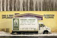 Ding & Dent Appliances (Curtis Gregory Perry) Tags: pullman washington furniture van chevy chevyvan 30 hd truck delivery hunters ding dent appliances cube panel box higginsons overstock flooring colfax nikon d810 night snow winter longexposure