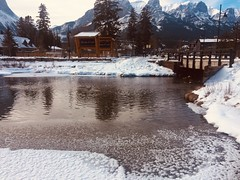 Canmore Alberta Canada (Mr. Happy Face - Peace :)) Tags: canmore alberta canada albertabound texturetuesdays snow threesisters boardwalk winter hiking outdoors activity art2019 creek