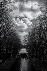 Cloudy Sky (sdupimages) Tags: landscape blackwhite noirblanc noiretblanc ciel sky paris tree arbre nuages clouds cityscape paysage urbain ville bw nb monochrome contrast canal river water perspective