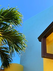 Yellow and Blues, T&C (augenbrauns) Tags: colorful colors caribbean turkscaicos chalksound sky palms architecture blues yellow exoticimage