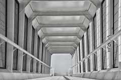 Footbridge Over Av. Infante Dom Henrique (RobertLx) Tags: architecture structure modern contemporary parquedasnações lisbon lisboa portugal city europe geometric caboruivo footbridge skyway olivais 64 travel symmetry white bw monochrome