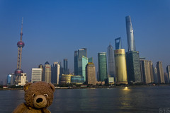 Photo (Adventures With Teddy) Tags: teddy adventures with photographers tumblr original shanghai china travel blog international bug thebund boats water city lightshow bear withteddy adventureswithteddy artists canon