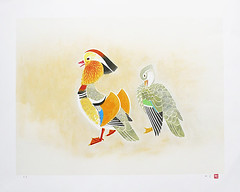Mandarin duck (Japanese Flower and Bird Art) Tags: bird mandarin duck aix galericulata anatidae shoko uemura modern lithograph print japan japanese art readercollection