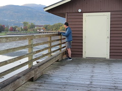 Hardy jogger (jamica1) Tags: shuswap salmon arm bc british columbia canada man shorts gloves track shoes