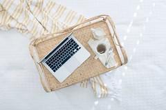 gray laptop computer on beige wicker chair - Credit to https://myfriendscoffee.com/ (John Beans) Tags: coffee tea laptop computer cafe coffeebeans shopbeans espresso coffeecup cup drink