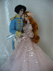 Sebastian and Nimyssa (redmermaidwerewolf) Tags: fashion royalty integrity toys takeo in the mix style mantra eden redhead doll dolls rimdoll etsy dress gown cinderella prince live action headdress