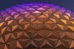 Closeup of Spaceship Earth (jtgfoto) Tags: approved epcot disney waltdisneyworld disneyworld geodesicsphere sphere spaceshipearth florida travel evening dusk geometric geodesic architecture architecturephotography sonyalpha sonyimages zeiss