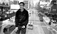Nothing Behind Me, Everything Ahead of Me (Steve Lundqvist) Tags: new york usa states united america manhattan stati uniti travel trip viaggio traveling model bw urban city urbanscape ny nyc monochrome nikon downtown building landscape panorama view point monocromo big apple portrait persone ritratto ambient light fashion moda mood attractive beauty subway jacket boy ragazzo streetphotography lacoste sweatshirt sportwear streetwear d700 24mm road