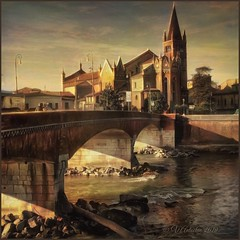 """from the series """"Walking in Italy"""". Verona. (odinvadim) Tags: iphoneart edit landscape iphoneonly winter iphonex iphoneography church painterlymobileart old sunset iphone snapseed evening artist travel oldhouse textured editmaster river textures icolorama"""
