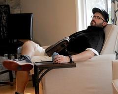 DSCN3037 (danimaniacs) Tags: man guy chair beard scruff hat cap