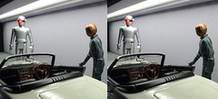 Gort and Klaatu go car shopping (in 3D) (Greg Bumpo) Tags: diecastmodel diecastdiorama thedaytheearthstoodstill youonlylivetwice jamesbond jamesbondmovies toyota2000gt stereophotograph stereoscopicphotograph stereoscopic 3d viewmaster