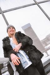 MERIT-2150135 (qauqe) Tags: tartu estonia model female girl woman beanie chick fashion ootd leica timberland footwear red urban streetwear furcoat fur jacket smile laughter winter