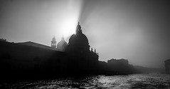 Ghostly Santa Maria della Salute (photofitzp) Tags: bw blackandwhite fog grandcanal italy light santamaria silhouette sun venice