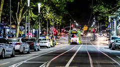 Melbourne at night. War memorial in the distance.... (84seven) Tags: tram melbourne war memorial street night outside fuji fujifilm xt3 1655mm f28