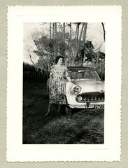 "Simca Vedette (Vintage Cars & People) Tags: vintage classic black white ""blackwhite"" sw photo foto photography automobile car cars motor simca vedette simcavedette girl woman lady fashion dress 1950s 50s fifties"