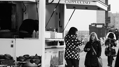 Lunch by the Sea 04 (byronv2) Tags: edinburgh edimbourg scotland promenade street candid peoplewatching eating coffee diner crumbsofportobello portobello seafront seaside coast coastal firthofforth rnbforth river riverforth blackandwhite blackwhite bw monochrome coffeekiosk