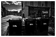 Life behind the biffa bins (Mallybee) Tags: bw blackandwhite blackwhite mallybee gritty rubbish bins biffa street streetphoto life lincolnshire fuji fujifilm xt100 fujinon 16mm f14 prime outside apsc xmount bayer bike shops tearoom