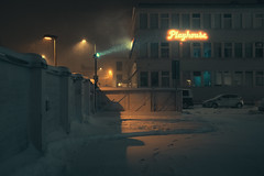 Playhouse (Somewhere in Helsinki) (Laser Kola) Tags: streetphotography cinematicphotography nightphotography nightlights laserkola lasseerkola playhouse moody noir exploringthecity blizzard urbanphotography citylights citynight fujifilmx100f 35mm helsinki suomi finland snow
