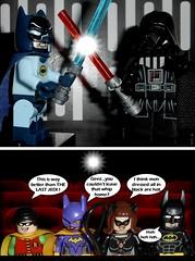 LEGO BATMAN  : MOVIE NIGHT AT LEGO GOTHAM CITY (DarkJediKnight) Tags: lego batman robin catwoman batgirl darthvader movie humor parodyspoof fake
