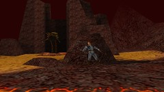 Serpent Sneaking (Platemail) (BarricadeCaptures) Tags: kingsquest kingsquestmaskofeternity maskofeternity thebarrenregion barrenregion lava connorofdaventry connor chainmail platemail basilisk rock gamescreenshots gamephotography videogame screencapture screenshot