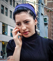 Purple Bandana (ViewFromTheStreet) Tags: 52ndstreet 5thavenue allrightsreserved bigapple blick blickcalle blickcallevfts calle copyright2017 copyright2019 manhattan nyc newyork newyorkcity photography stphotographia streetphotography viewfromthestreet amazing candid cell classic female freckles girl mobile phone portrait pretty street streetportrait vftsviewfromthestreet woman ©blickcallevfts ©copyright2017blickcalle ©copyright2019blickcalle