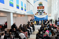 Deputy Premier, Hon. Moses Kirkconnell delivers remarks during ORIA ceremony (Cayman Islands Government Information Services) Tags: cayman royal visit charles prince wales camilla duchess cornwall owen roberts international airport united kingdom great britain