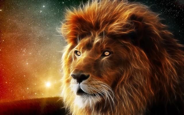 Обои лев, морда, грива, царь зверей, абстракция картинки на рабочий стол, фото скачать бесплатно