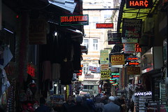 Shopping Street (lazy south's travels) Tags: istanbul turkey turkish sultanahmet district sopes market sign neon people canded road street scene