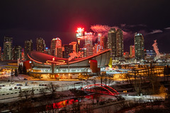 New Year's 2019 in Calgary (Matthew Hicks Photography) Tags: fireworks calgary yyc alberta saddledome scotsmanshill ramsay winter night longexposure