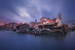 Venetian paths 134(San Trovaso lo squero) (Maurizio Fecchio) Tags: venice venezia italy city cityscape church longexposure morning sunrise clouds sky colors cold travel nopeople nikon d7100 water canal gondola