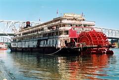 Delta Queen in Cincinnati, OH -  Sept 1997 (24FM) Tags: showboat steamboat cincinnatiohio ohioriver paddlewheeler dock sternwheel deltaqueen riverboat