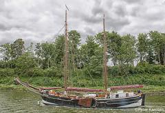 Kiel Canal - SS Amazone (peterkaroblis) Tags: kielcanal nordostseekanal nok kanal canal schiff ship flatboat plattbodenschiff wolken clouds