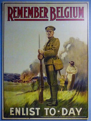 Remember Belgium (Steve Taylor (Photography)) Tags: rememberbelgium enlisttoday soldier burning rifle bayonet poster billboard house smoke brown green satchel cream canvas man child kid boy lad newzealand nz southisland canterbury christchurch grass airforcemuseum wigram cap
