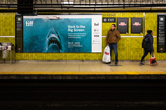 Subway Shark (cookedphotos) Tags: 2018inpictures toronto ontario canon 5dmarkiv streetphotography 365project p3652018 ttc tiff jaws spielberg movie poster subway dundas station commute advertisement