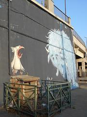 655 (en-ri) Tags: bird bambina little girl mostro monster nero azzurro bianco arancione torino wall muro graffiti writing uccello