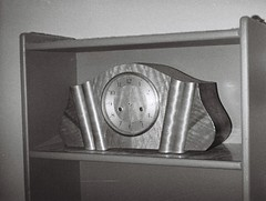 Art deco mantle clock (Matthew Paul Argall) Tags: hanimex110if fixedfocus 110 110film subminiaturefilm lomographyfilm 100isofilm blackandwhite blackandwhitefilm grainyfilm clock mantleclock