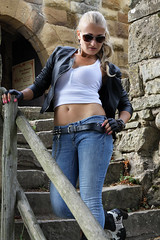 Anna 116 (The Booted Cat) Tags: sexy blonde model girl tight blue jeans leather cowboyboots cowgirl boots jacket sunglasses