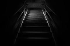 Dark Staircase (shutterclick3x) Tags: blackandwhite bw abandoned urbex urbanexploration urbandecay urbanruins stairs stairwell shadows lightandshadow lines