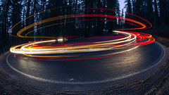 Topsy Turvy (PNW-Photography) Tags: yosemite yosemitenationalpark nationalpark lightpainting lights forest curved road california roadtrip