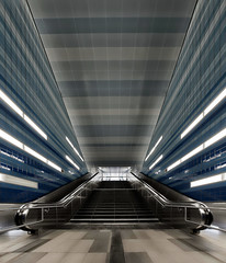 Metro Staircase (T.Seifer : )) Tags: architecture building metro staircase view nikon light lines modern subway station underground hamburg überseequartier stairs design symmetry indoors tourism blue