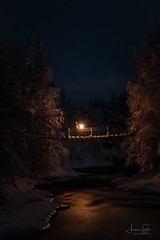 Winter Wonderland (lsten) Tags: portrait bridge amazing finland mystical 35mm snow iso6400 amateurphotography nocturnal north canoneos5dmarkiv sky ice night landscape winter nationalpark scenery adventure overcast forest f56 naturephotography clouds landscapephotography longexposure blue myllykoski serenity stunning river dark spooky calm peaceful nature kuusamo oulankanationalpark canonef2470mmf28liiusm singleshot