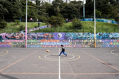 Boom (couturier.aurelien) Tags: ball kid colombia bogota street hope sport football shoot boom happy smile ground