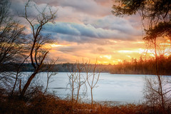 Frozen Brook Beneath a Flaming Sky (Simmie | Reagor - Simmulated.com) Tags: 2019 cheshire connecticut connecticutphotographer d750 february fortnathanhale landscapephotographer longexposure naturephotographer newengland newhaven nikon northeast panorama pier winter digital reservoir water greatphotographers