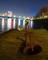 Anchored Night (CaptJackSavvy) Tags: anchor buoy dock pier city cityscape night nightphotography longfellowbridge rust nautical onawalk boston cambridge massachusetts bostonmassachusetts cambridgemassachusetts