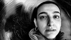 Alaa - 4 (draketoulouse) Tags: chicago uptown street streetphotography portrait reflection people woman silhouette blackandwhite monochrome bw